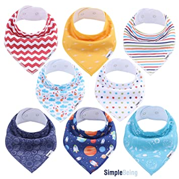 Baby Boys /& Girls Printed Pull Over The Head Bibs 100/% DOUBLE LAYERED COTTON UK