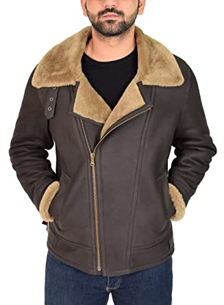 Mens Real Sheepskin Flying Leather Jacket Brown/Ginger Aviator B3 Bomber Cross Zip Shearling Coat