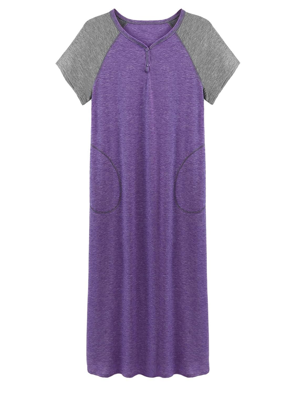 Skione Nachthemd Damen Baumwolle Nachtkleid Lang Still Pyjama Negligee Baumwolle Kleid Sleepshirt Nachtwäsche