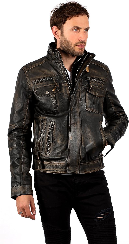 Mens Black Vintage Brando Leather Biker Jacket