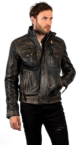 40f4c9df0a896 Nero Caldo Brando Giubbotto da Motociclista in Pelle da Uomo  Amazon.it   Abbigliamento