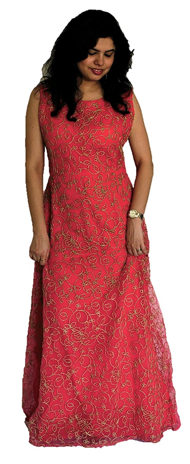 Buy Designs By Diva Women S Net Long Indo Western Dress Dbd 0009 Peach Free Size At Amazon In