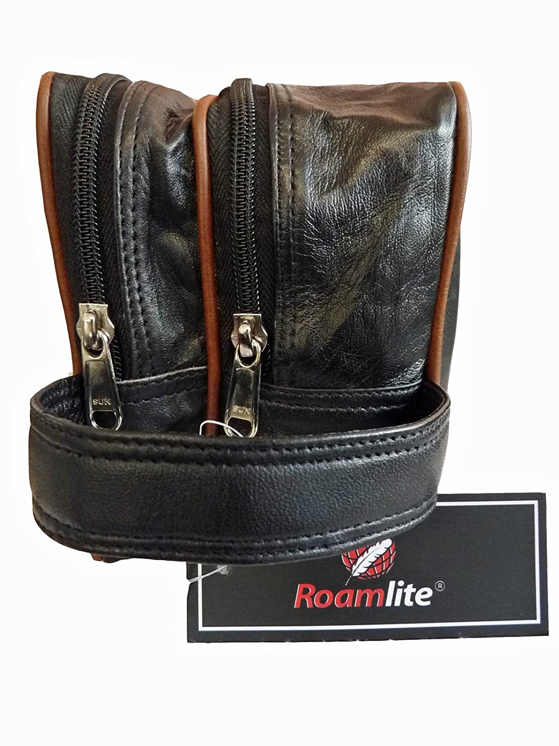 59c516509a Leather 2 Tone Toiletry Wash Bag for Toiletries - Holiday Travel Washbag -  Suitable as Men s or Ladies - 3 Zipped Sections - RL155  Amazon.co.uk   Luggage