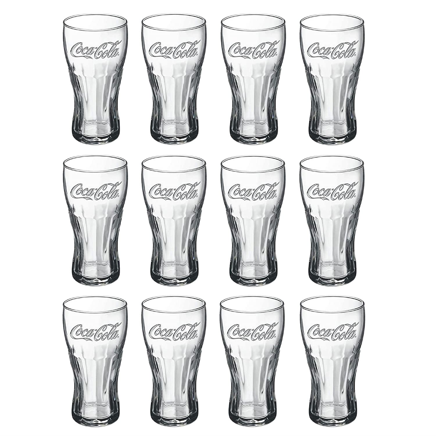 4 x Coca Cola Glass Tumbler Set Clear Transparent 40cl / 400ml / 14oz Official Coca Cola Glass Tumbler (Set of 4 Glasses) Coca Cola®