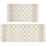 Pauwer Tan Moroccan Cotton Area Rug Set 2 Piece 2'x4.2'+2'x3' Machine Washable Printed Cotton Rugs with Tassel Hand…