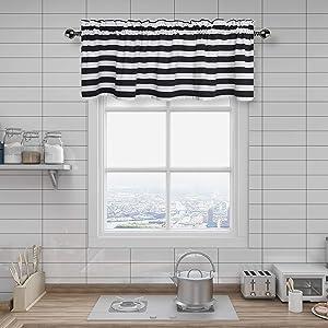 Amzdecor Black and White Stripe Café Window Valances Kitchen Curtain Drapes for Kitchen, Bathroom, Bedroom, Living Room, Rod Pocket, 55x15 inch