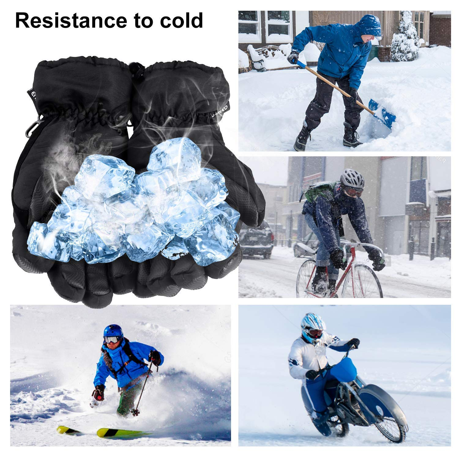 NACATIN Snowboard Gloves,Ski Gloves with Pocket Waterproof for Mens Womens,Thermal Warm Gloves 3M Thinsulate Insulated with Zipper for Winter Snowboard Cycling Snowmobile(Black)
