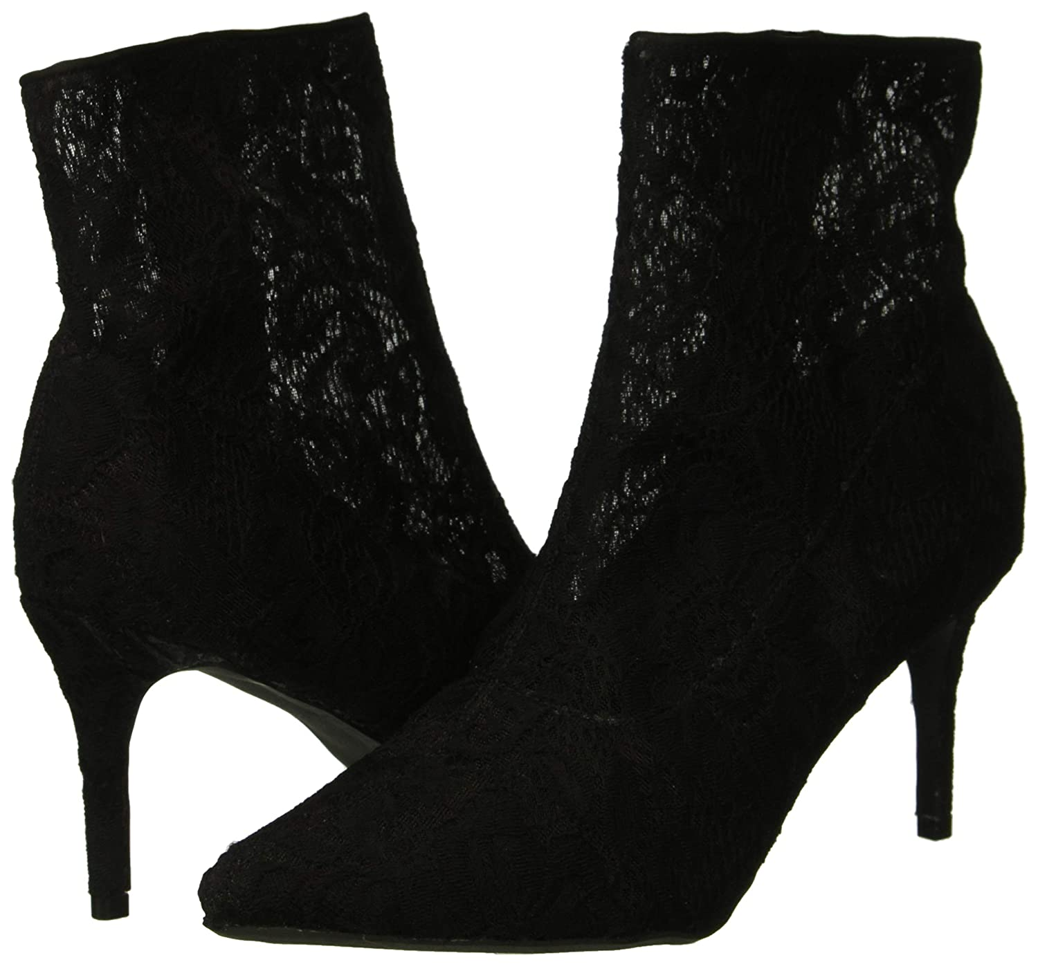 8.5 M US Black Fabric lace Rampage Womens Thaimara Stiletto Heel Pointed Toe Ankle Bootie Boot