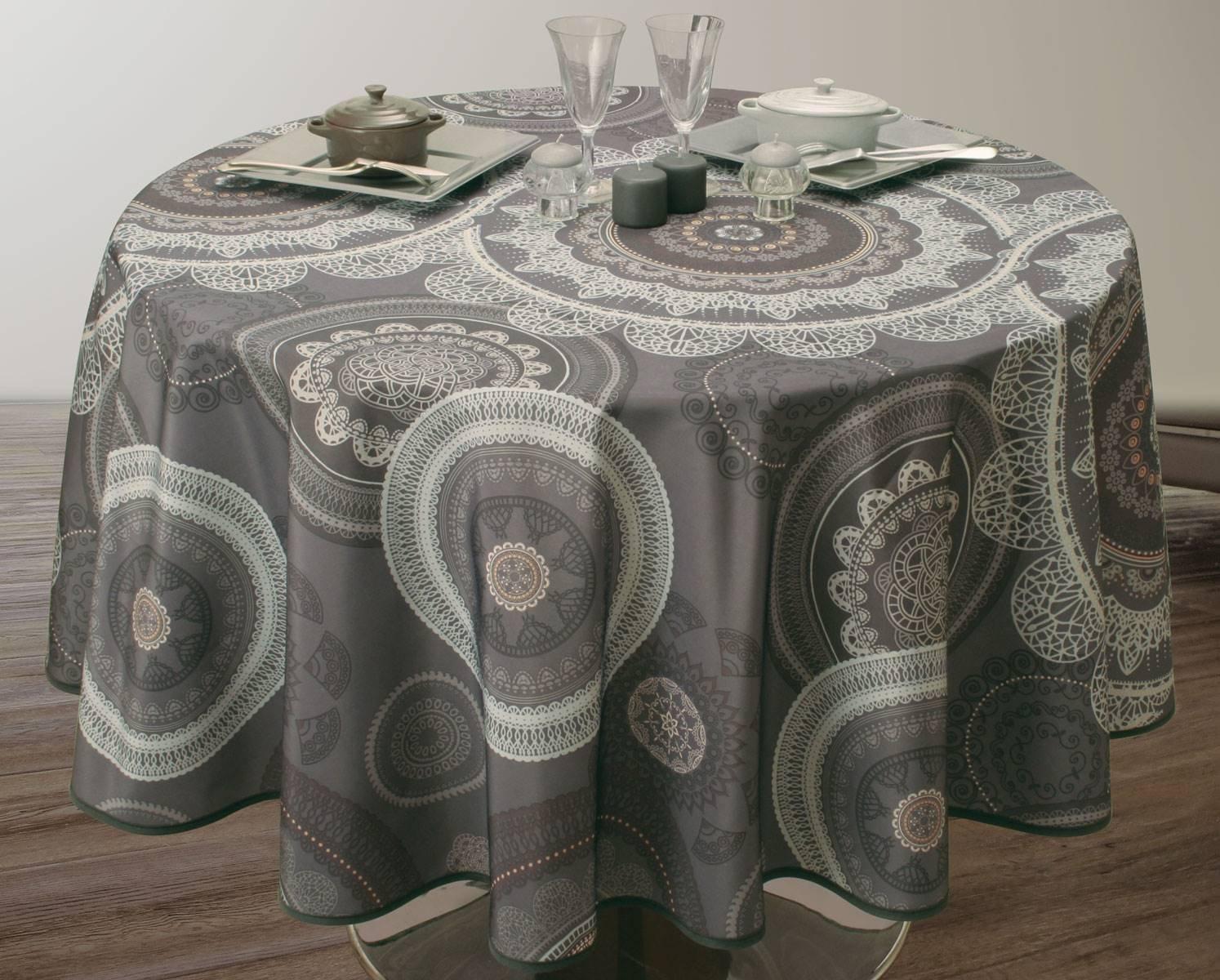 Rectangular 60x95 inch Mandala grey Anti-Stain EasyNappes Tablecloth