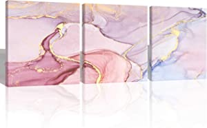 Oiney Lily Blush Pink Abstract Canvas Contemporary Wall Art Marble Home Wall Decor 3 Panels Print on Canvas for Living Rooms,Office,Bathroom