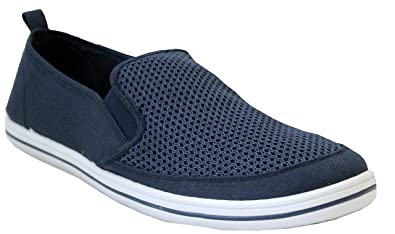 e7adfba25d8 Mens DEK Mesh Denim Canvas Casual Slip On Twin Gusset Espadrilles Plimsolls  Pumps Beach Shoes UK Size 7-12 (UK 7