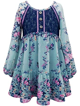 4527ae254feb Amazon.com  Truly Me Tween Girls 7-16 Long Sleeve Green Multi Floral  Chiffion Print Tunic Dress