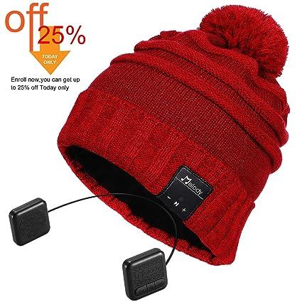 6c6ab1ed7 Bluetooth Beanie Hat, Topple Pom Pom Music Beanie Hat, Wireless Headphone  Beanie with HD Stereo Earphone Speaker &Mic,Unisex Washable Men Women  Winter ...