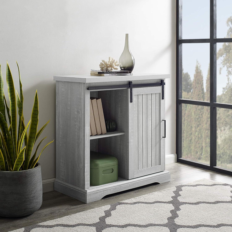 WE Furniture AZF32ALGRDST Modern Farmhouse Buffet Entryway Bar Cabinet Storage, 32 Inch, Grey