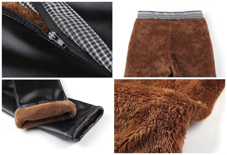 Duolunjindun Pantalons Homme PU Cuir M/étallis/é /Épais Poil Doux Vantage /Étanche Zipp/é Slim Hiver Noir Simple Casual Mode Formelle Tavaille Commerce Taille 34-42
