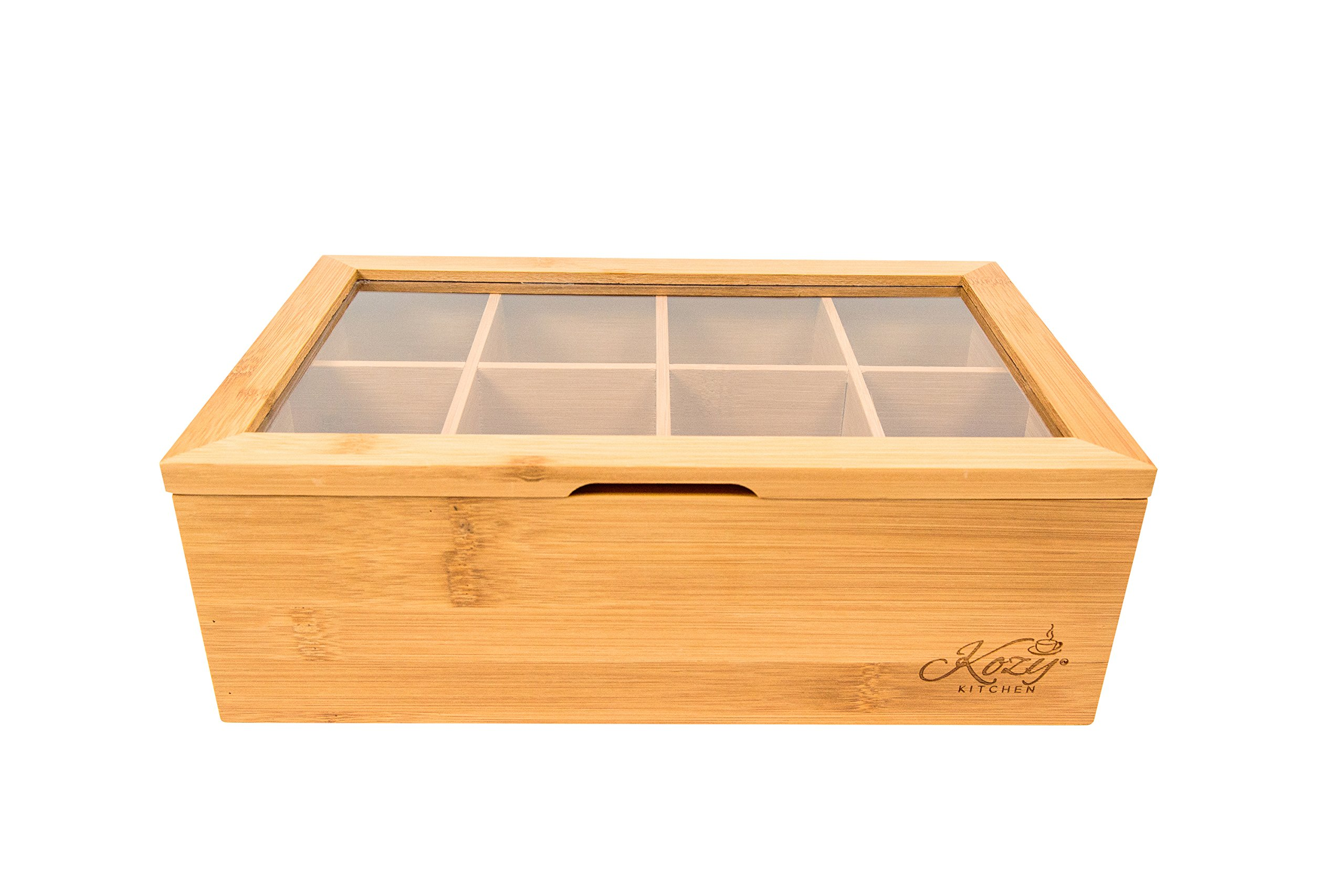 Bamboo Tea Box Storage Organizer, 100% Natural Wooden Finish Tea Bag Organizer 8 Storage Compartments and Clear Shatterproof Hinged Lid by Kozy Kitchen (Image #5)