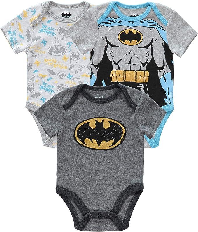 DC Comics Baby Batman Multi-Pack Onesies Short Sleeve Bodysuit Bat Logo Printed Gift Set