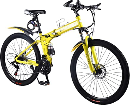 KVIONE E9 Hombres Bicicleta montaña Doble suspensión Bicicleta montaña para Mujer 26 Pulgadas MTB Bicicleta Acero Alto Carbono para Mujer con Bicicleta Plegable Freno Disco 21 velocidades: Amazon.es: Deportes y aire libre