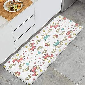 YIPIFYI Unicorn Rainbow Kitchen Rug Mat Specialized Microfiber Non-Slip Rubber Backing Runner Carpet