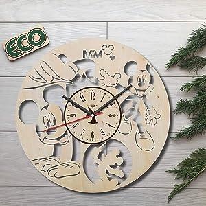 Mickey Mouse Wall Clock - Battery Operated Non Ticking Clocks - Wood Modern Wall Decor - Kitchen Office Nursery Decorative Clocks - Custom Gift Birthday Christmas Wedding Anniversary - Size 12 Inch