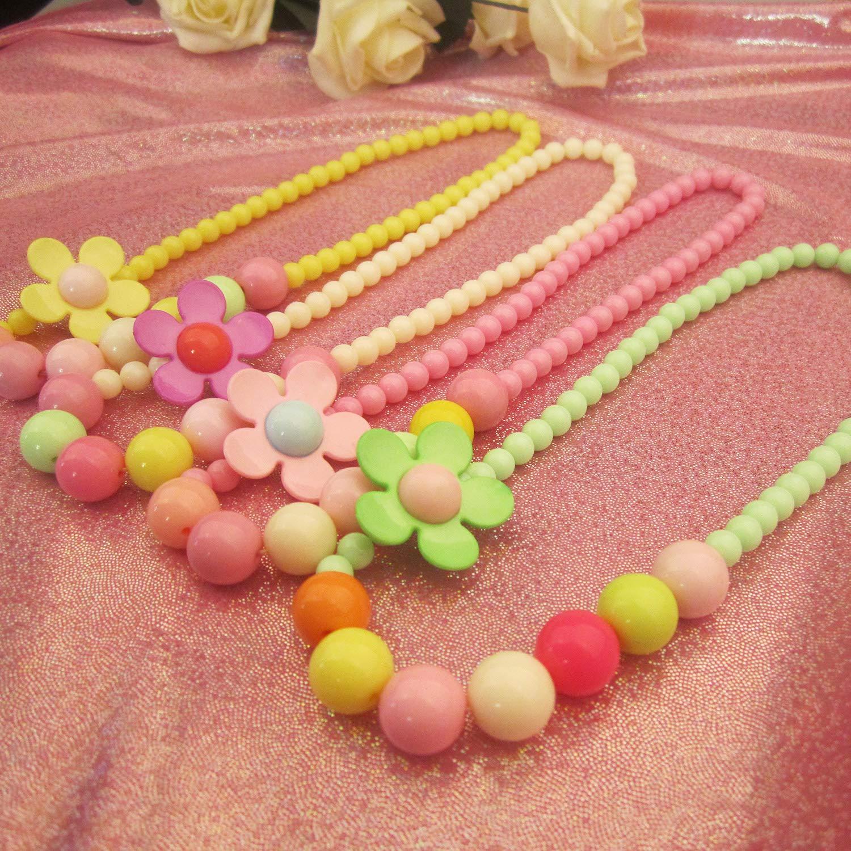 KICI 4 Set Little Girls Jewelry Rainbow Flower Necklace Bracelet Set Colorful Beads for Kids Childredn Little Princess Play Pretend Dress Up