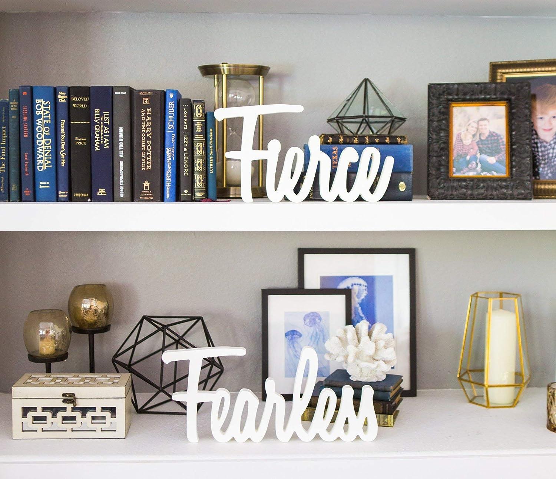 Amazon Com Office Home Shelf Decor Fierce Fearless Script Blocks Dorm Home Decor Custom Colors Cute Girls Women Motivational Artwork Handmade