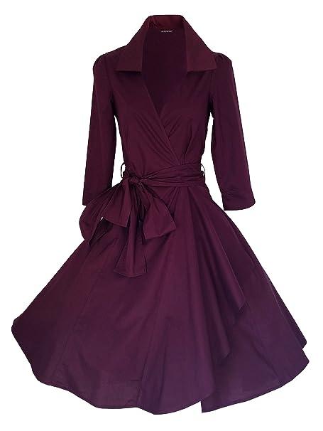 Vintage 40 de 50 estilo Rockabilly/Swing/Pin Up de algodón Wrap vestido de