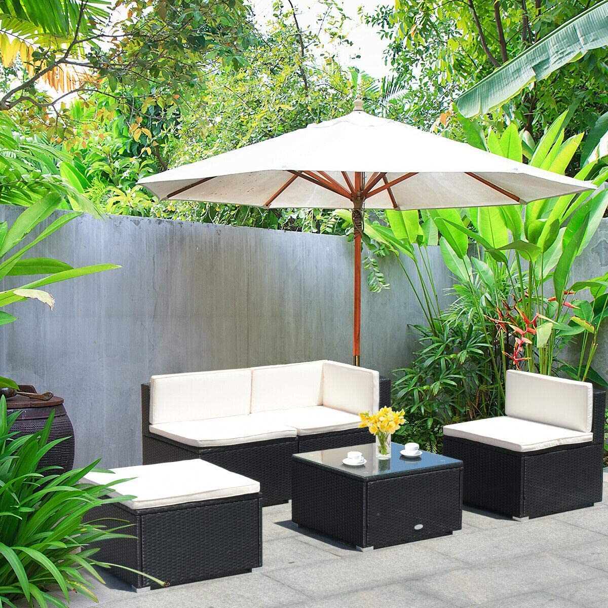 Patio Furniture Accessories Outdoor Conversation Set Rattan Furniture With Sponge Cushions Tangkula 5 Pcs Patio Furniture Sets Modern Wicker Coffee Table With Sofas Wicker Combination Furniture For Outdoor Indoor Patio Lawn