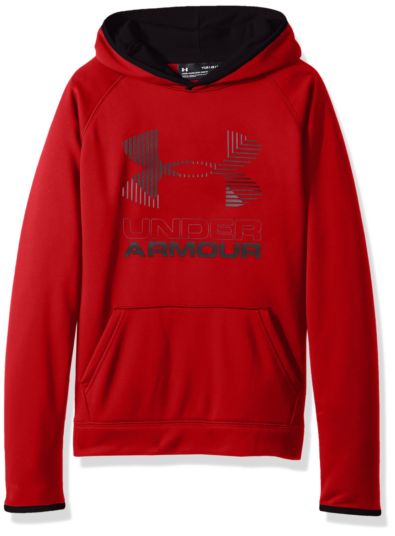 Under Armour Boys SG AF Solid Big Logo Hoodie, Red /Graphite, Youth Large by Under Armour