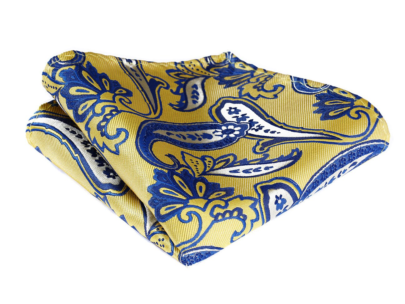 HISDERN Men's Check Paisley Floral Dot Striped Wedding Party Pocket Square Handkerchief Yellow / Blue HP905Y