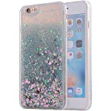 KC iPhone 6 Plus & iPhone 6s Plus Back Cover - Unique Floating Hearts With Crystal Bling Liquid Glitter star Floating Sparkle Transparent Hard Back Case for iPhone 6s Plus & iPhone 6 Plus