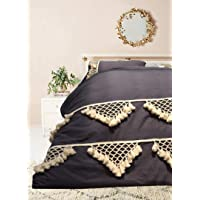 Flber Tufted Tassel Duvet Cover Lattice Boho Bedding,Full Queen