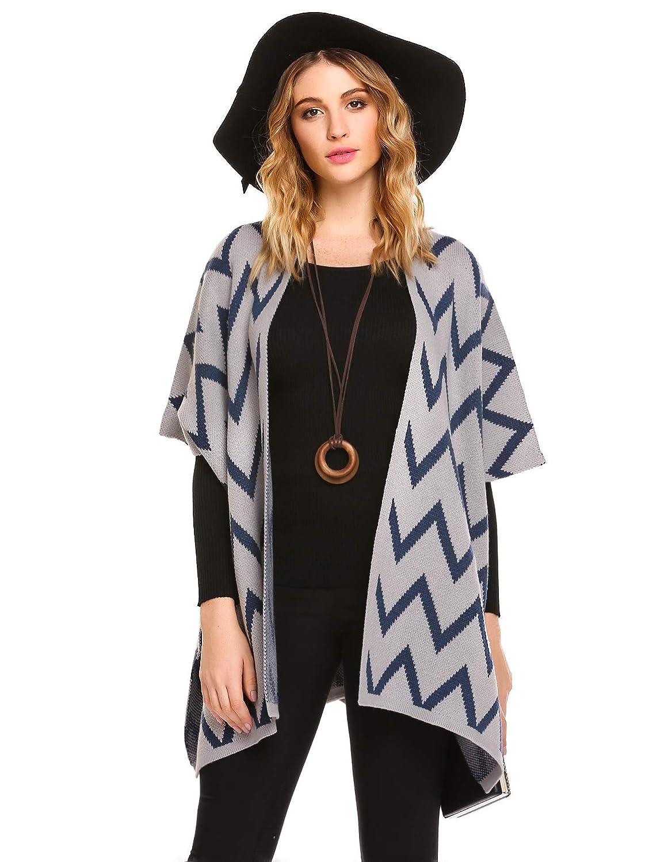 Zeagoo Womens Classic Jacquard Chunky Knitted Shawl Wrap Cardigan