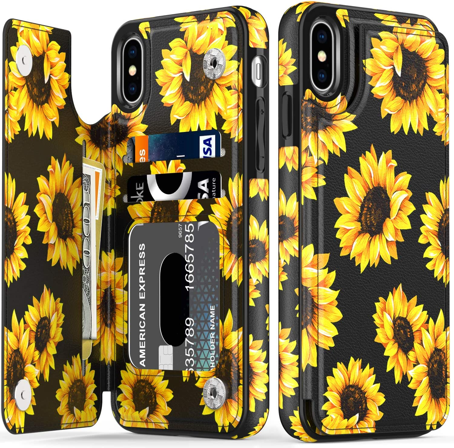 LETO iPhone X Case,iPhone Xs Case,Leather Wallet Case with Fashionable Flower Designs for Girls Women,Flip Folio Cover Kickstand Card Slots,Protective Phone Case for iPhone X/Xs Blooming Sunflowers