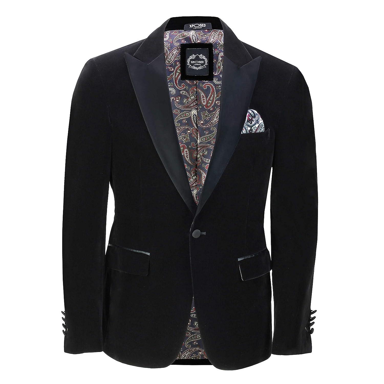 Mens Velvet Tuxedo Dinner Jacket Retro Smoking Coat Formal Tailored Fit Blazer
