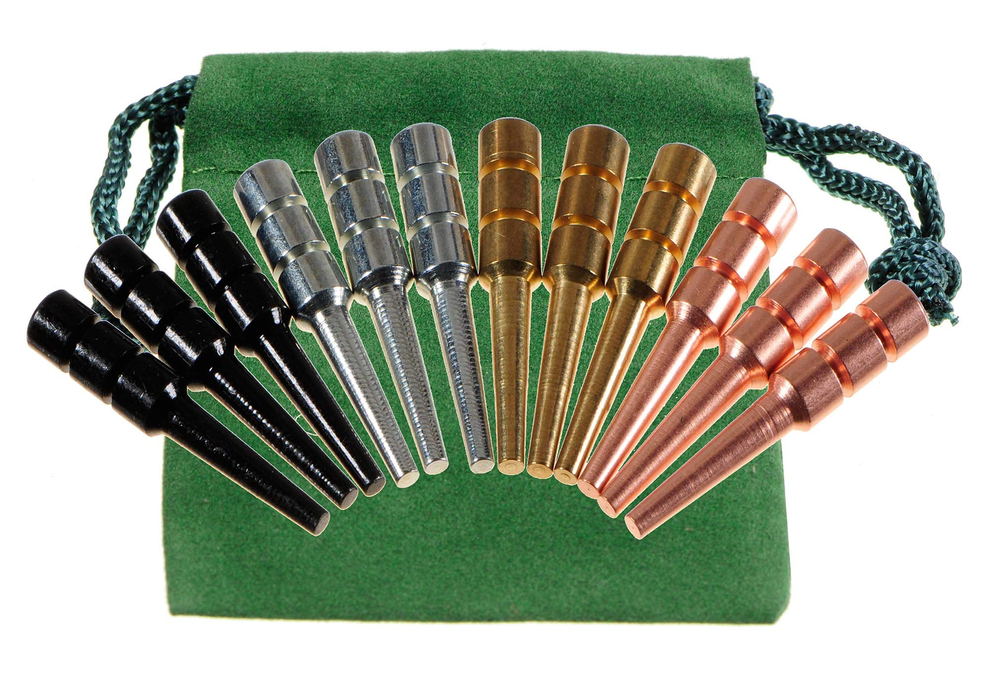 Premium Metal Cribbage Pegs _ Set of 12 _ in Four Different Colors _ 1 5/16'' Tall; Tapered to Fit 1/8 holes _ Bonus Green Velveteen Drawstring Storage Pouch by Deluxe Games and Puzzles