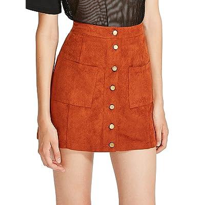 Verdusa Women's Casual Patch Pocket Button-Up A-Line Suede Short Skirt