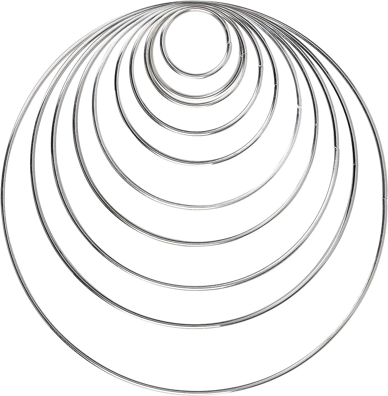 WOWOSS 12 Pezzi Anello Metallo per Acchiappasogni Cerchio Anello 38//50//75//100//130//150mm per Fare Acchiappasogni Acchiappasogni Fai da Te
