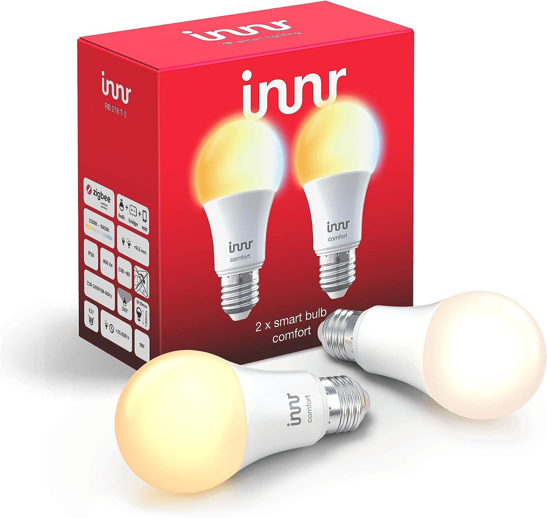 Innr Bombilla LED conectada, E27, ajustable en blanco 2200K 5000K, compatible con Philips Hue* (Puente requerido) & Echo Plus, 2 Pack, RB 278 T 2
