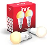 Innr Bombilla LED conectada, E27, ajustable en blanco 2200K - 5000K, compatible con Philips Hue*, RB 278 T-2 (2-Pack)