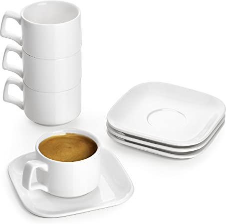 DOWAN Espresso Cups with Saucers, 120ML Porcelain Espresso Cups Set for Espresso Coffee, Hot Chocolate Cup and Saucer Set, Small Coffee Cups Set, Set