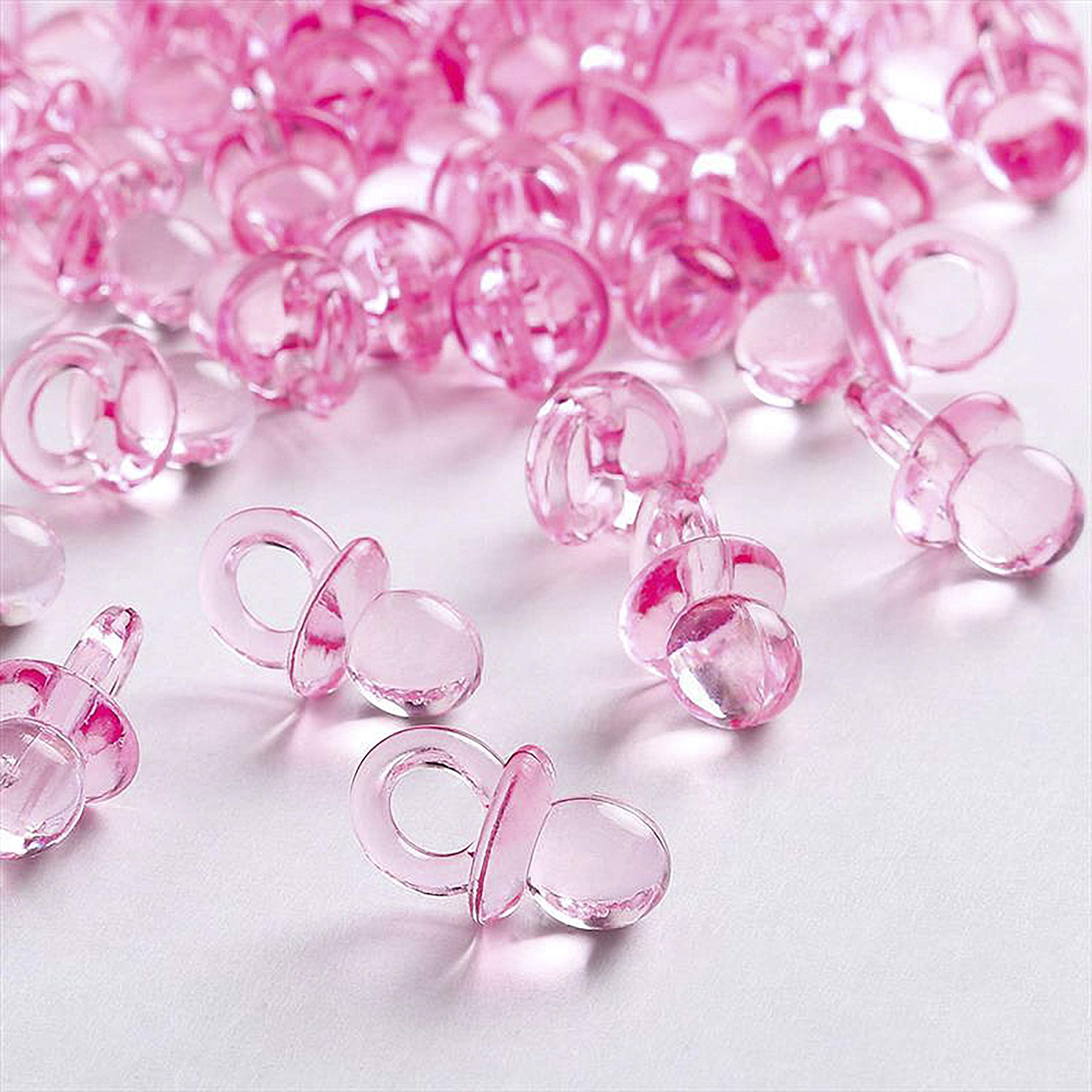Adorox (144 Pieces Pink Acrylic Baby Pacifiers Baby Shower Decoration Table Scatter