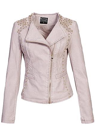 Violet Leather Fashion Damen Lederjacke PU Kunstleder mit Perlen verziert, alt rosa