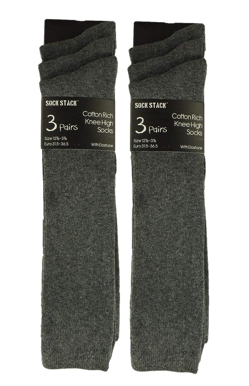 3 Pairs Childrens Girls Heart Cotton Rich Knee High Socks