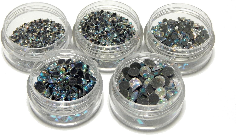 Hotfix - Juego de piedras de estrás, cristal AB, calidad AAA, para planchar, en 5 tamaños, 2 mm, 3 mm, 4 mm, 5 mm, 6 mm, autoadhesivas, con caja de clasificación