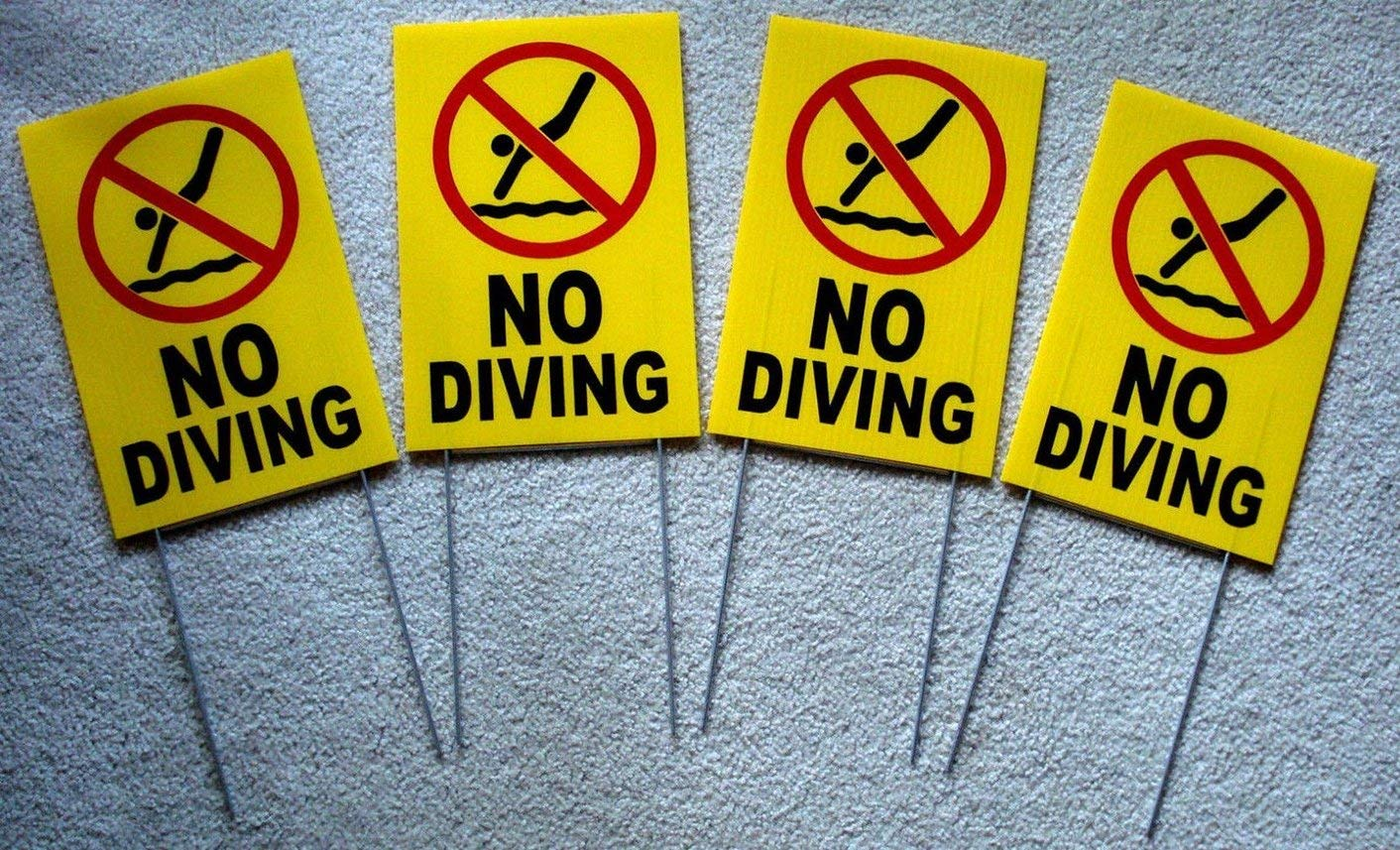 Swall 4 Pc Heart Stirring Unique No Diving Symbol Yard Signs Beach Coroplast Plastic Message Swiming Declare Lifeguard On Duty Pools Decor Stand Decal Warning Post at Your Own Risk Size 8 X12 W/ by Eletina Staring
