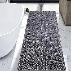 LOCHAS Luxury Bathroom Rug Grey Bath Mat Runner 24 x 60 Inch, Shaggy Washable Non Slip Bath Rugs for Bathroom Shower, Soft Plush Chenille Absorbent Carpets Mats, Grey
