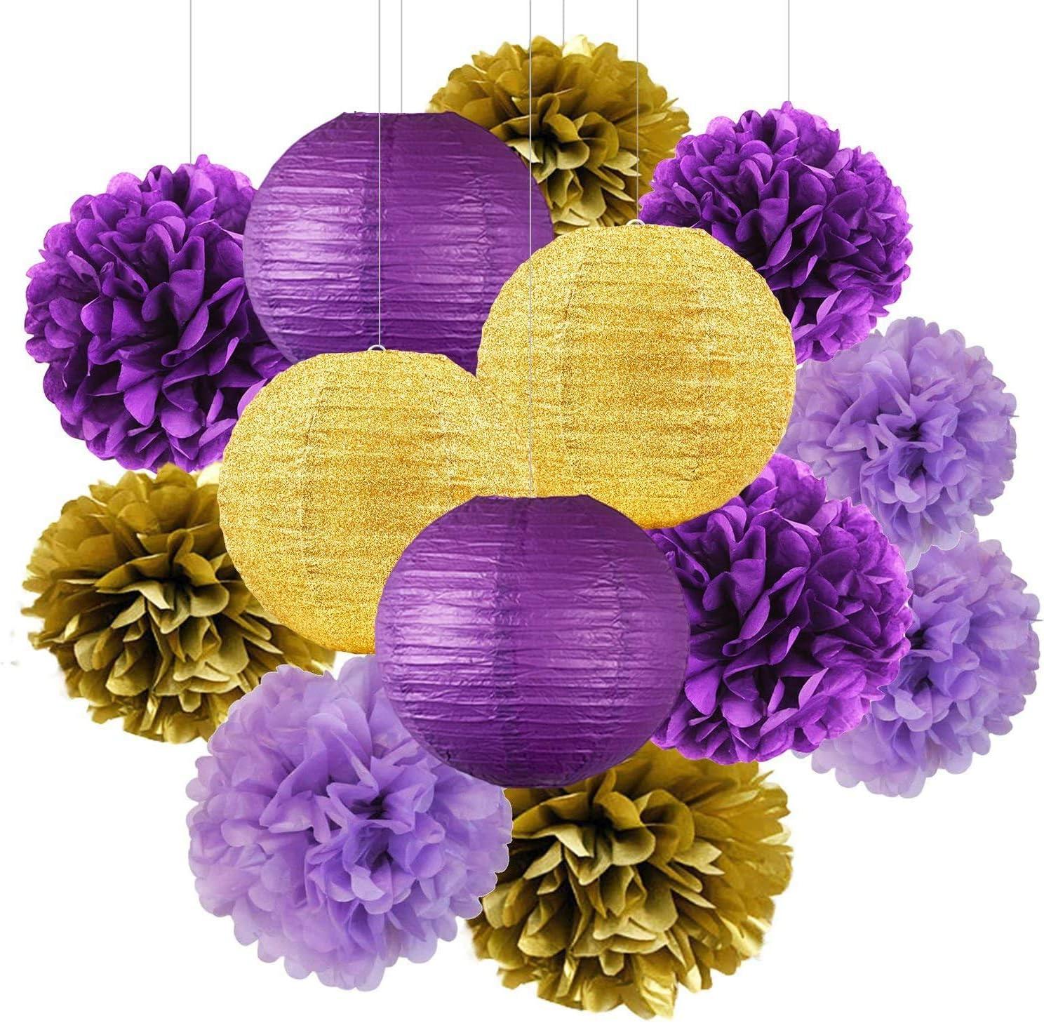 Graduation Decorations Purple Gold 2021 Furuix Purple Gold Birthday Party Decorations Glitter Gold/Purple Paper Lanterns Purple Birthday/Baby Shower/Bridal Shower/Wedding Decorations/LSU Decorations