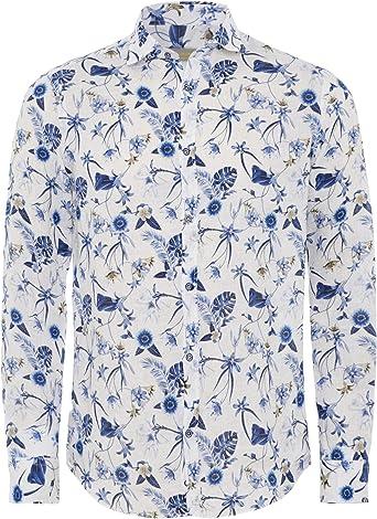 Seeker Groove Hombres Camisa Floral de Lino White M: Amazon ...