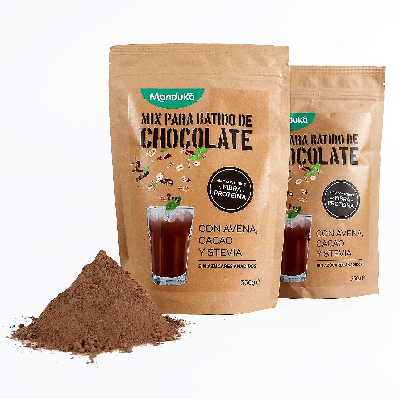 Mix para Batido de Chocolate con Avena, Cacao y Stevia, pack de 2x350gr de Manduka. Alto Contenido en Fibra, Proteínas, Hierro y Magnesio - ...